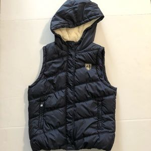 American eagle navy fur hooded puffer vest Sz L/G